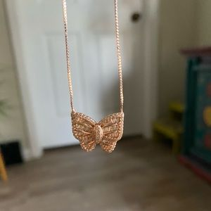 Rose Gold Sterling Silver butterfly necklace